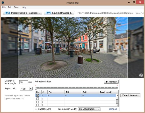 Exporting panorams to video