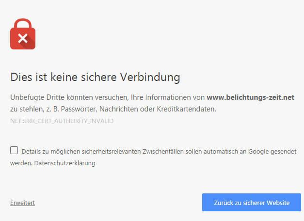 SSL ohne eigenes Zertifikat und Chrome - Peter\'s Blog