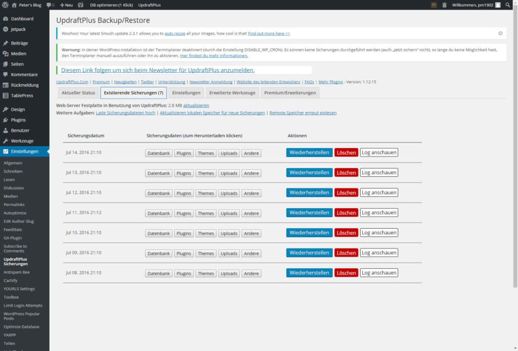 Wordpress sichern mit UpdraftPlus