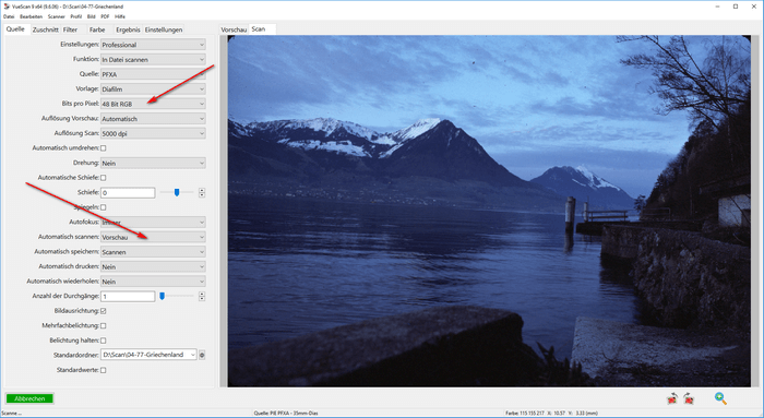 Reflecta RPS10M Filmscanner und Vuescan