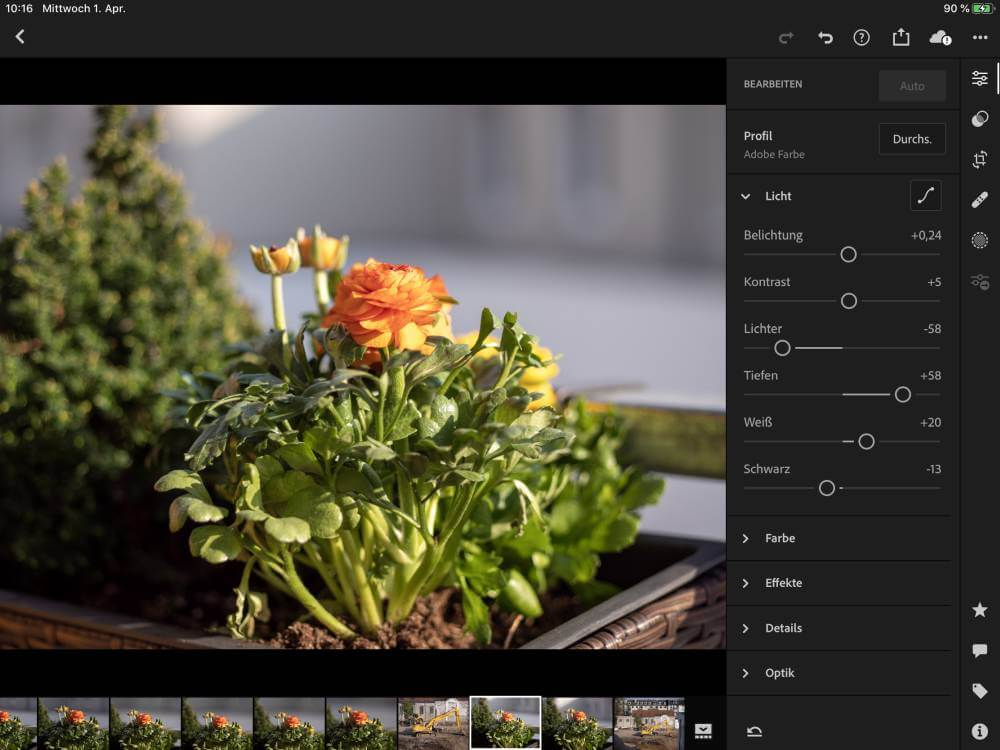 Lightroom CC und das iPad Air