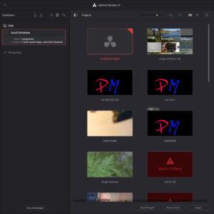 Projekte in Da Vinci Resolve